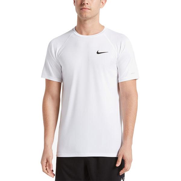 Nike Hydroguard 男 白 短袖 緊身防曬衣 腳踏車服 抗紫外線 UPF 40+ 吸濕 排汗 健身 NESS9531-100