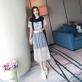 現貨 休閒套裝 女2019夏季新款印花中長款半身裙短袖T恤 套裝兩件式  短袖裙裝