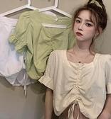 喇叭袖上衣 夏季新款2021韓版法式方領上衣襯衫女設計感小眾抽繩短款白色襯衣  卡洛琳