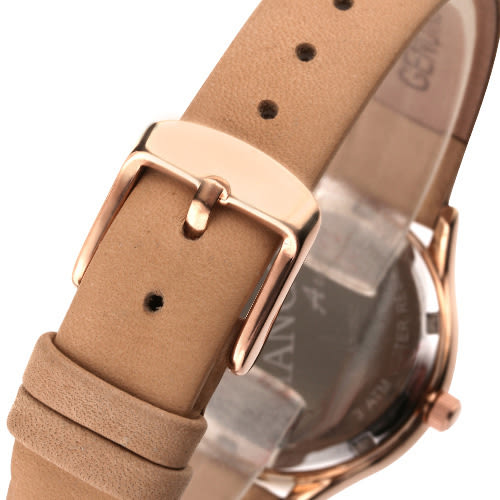MANGO 微感優雅個性時尚腕錶-杏/31mm