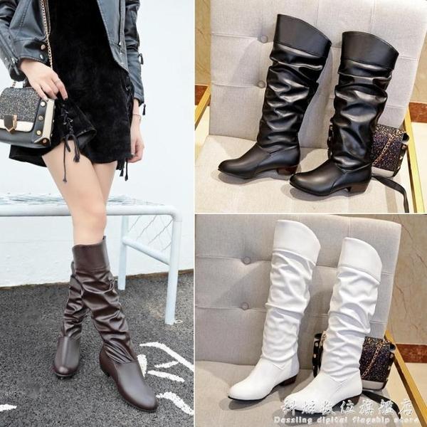 高筒靴平跟白色靴子女春秋款長靴冬平底學生單靴女鞋子cosplay黑  科炫數位