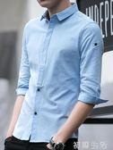 襯衫短袖襯衫男士衣服潮帥氣襯衣韓版修身休閒七分袖寸衫7分夏季男裝 初語生活