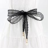 腰封 腰帶女蕾絲布腰鍊配裙子雪紡民族風腰繩珍珠吊墜裝飾絲帶百搭 - 歐美韓熱銷