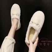 豆豆鞋 鋪棉豆豆鞋女毛毛鞋秋冬季潮鞋新品外穿懶人一腳蹬孕婦奶奶鞋【快速出貨】