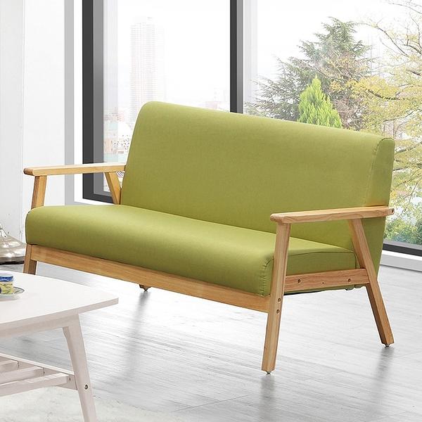 【森可家居】亞克二人座綠色布沙發 8ZX513-8 雙人椅 淺色架