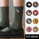 OT SHOP [現貨] 襪子 中筒襪 運動襪 棉質 螺紋襪口 可愛卡通圖案刺繡 百搭學院風 八色 M1081
