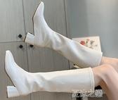 長筒靴女 韓國東大門高筒靴女不過膝長靴白色粗跟騎士靴方頭西部牛仔靴 快速出貨