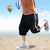 兒童運動短褲外穿男童七分棉麻褲子夏季2019新款薄款12中大童15歲   米娜小鋪