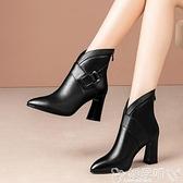 粗跟短靴 短靴女2021秋冬季新款馬丁靴粗跟高跟尖頭英倫風女靴子 嬡孕哺 新品