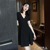 小黑裙夏季V領小心機a字裙子氣質修身顯瘦短袖冷淡風洋裝女提拉米蘇