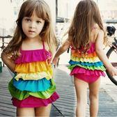 現貨 彩虹連身泳裝 肩帶可調   寶寶游泳衣泳裝 玩水  橘魔法Baby magic 童 小孩