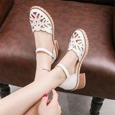 仙女涼鞋女夏季2018新款韓版中跟粗跟學生時尚包頭一字扣單鞋女鞋