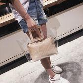 大包包女時尚百搭手提包個性透明鍊條休閒鱷魚紋子母包側背包  蒂小屋服飾