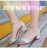 粗跟涼鞋 新品粗跟涼鞋女夏季百搭大碼高跟鞋中跟一字扣帶小碼涼鞋露趾 快速出貨