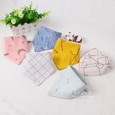 棉感卡通印花口水巾 三件組 圍兜 圍嘴