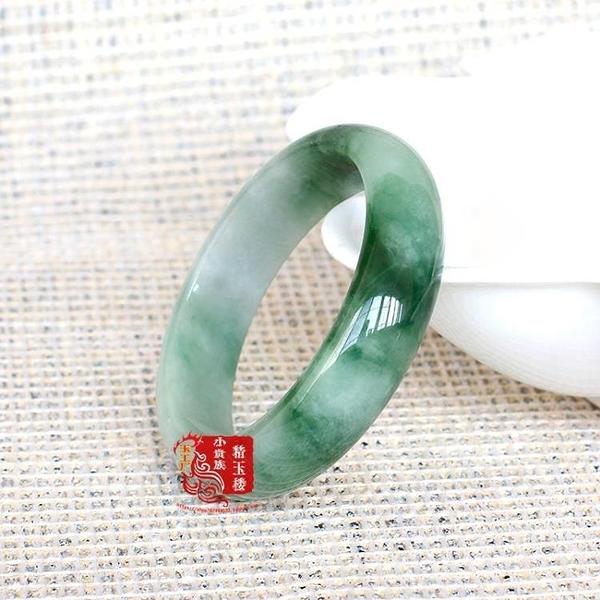 緬甸翡翠手鐲玉手鐲飄花陽綠翡翠玉鐲子女款圓圈口手環實物圖