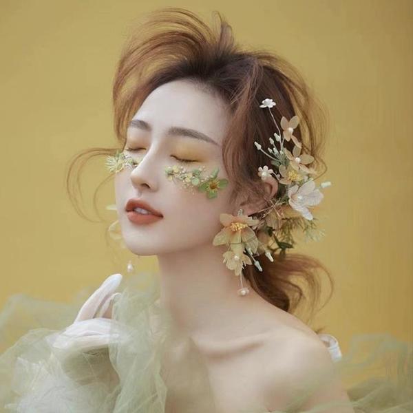 新娘頭飾韓式永生花干花頭花唯美森系仙美發飾品主婚紗超仙配飾