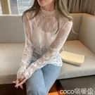 熱賣蕾絲打底衫 蕾絲打底衫女2021秋冬季新款白色長袖內搭T恤網紗寬鬆加絨上衣【618 狂歡】