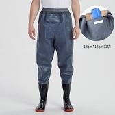 釣魚捕魚抓魚橡膠牛筋齊腰魚褲雨褲下水褲半身加厚防水耐磨連體男 夏洛特