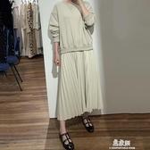 洋裝韓國chic小眾百搭圓領套頭寬鬆下擺拼接假兩件百褶連帽T恤洋裝長裙(快速出貨)