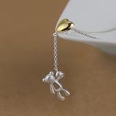 項鍊 925純銀吊墜-可愛小熊生日聖誕節交換禮物女飾品73gm10[時尚巴黎]