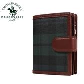 【橘子包包館】SANTA BARBARA POLO 綠格 8卡相片零錢袋 扣式短夾 SB38-00107
