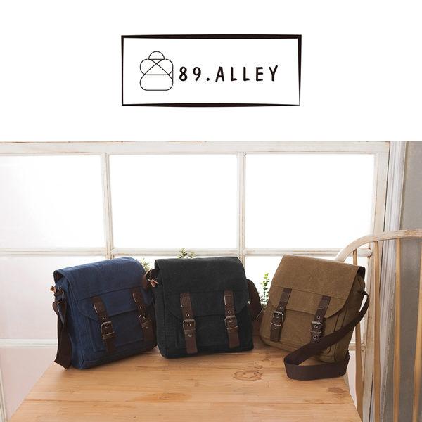 側背包 女包男包 帆布輕巧款 韓版雙排扣情侶斜背包 89.Alley ☀3色 HB89186