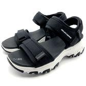 《7+1童鞋》中大童 SKECHERS 996334LBKW  輕量 防水   運動涼鞋 C905  黑色