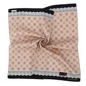 Clathas 經典山茶花菱格紋純綿領巾(粉膚色)989256-1