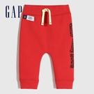 Gap嬰兒 碳素軟磨系列 Logo創意鬆緊長褲 656197-紅色