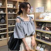 夏裝新款韓版寬鬆百搭一字肩漏鎖骨上衣港味復古chic襯衫女潮      麥吉良品