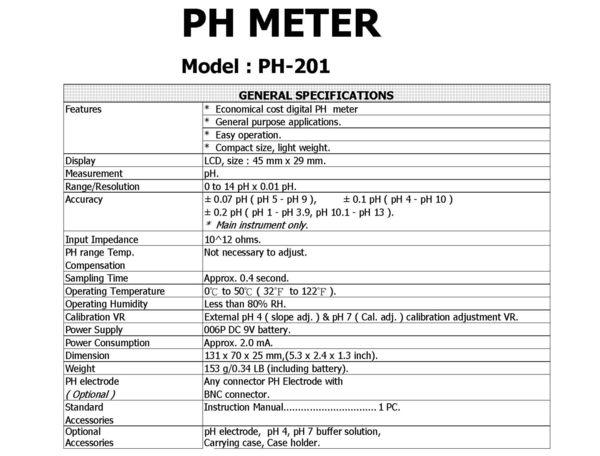 路昌Lutron PH-201 迷你型酸鹼計(含電極)