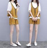 促銷價不退換短袖短褲套裝XL-5XL中大尺碼31981女新款胖妹妹洋氣套裝闊腿短褲背帶T恤三件套