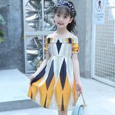 洋裝 女童裝雪紡洋裝2018新款夏季中大童公主裙6歲小女孩一字領裙子9 芭蕾朵朵
