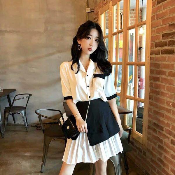 VK旗艦店 韓國風黑白拼色顯瘦百褶連身裙套裝短袖裙裝