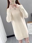 針織洋裝女 秋冬新款半高領中長款毛衣女套頭打底寬鬆外穿洋氣針織洋裝 快速出貨