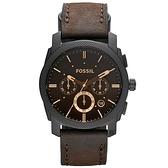 FOSSIL 星際時空三環計時運動腕錶/手錶-咖啡x金時標/45mm FS4656IE
