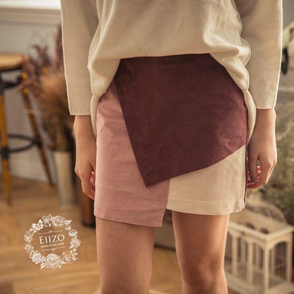 【EIIZO】幾何拼接麂皮短裙(粉)