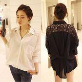 ZUCAS~(XA-1633)蕾絲拼接寬鬆顯瘦百搭長袖襯衫