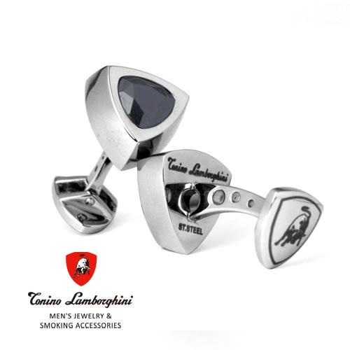 義大利 藍寶堅尼精品 -  SCUDO Collection 袖扣(黑水晶) ★ Tonino Lamborghini 原廠進口 時尚必備行頭 ★