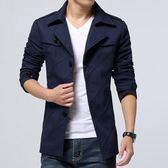 風衣外套 男士風衣中長款新款春季外套男韓版潮流修身帥氣衣服男裝夾克