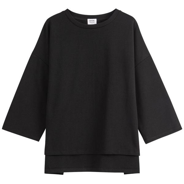 Queen Shop【01038757】前短後長小開衩圓領上衣 兩色售*現+預*