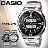 CASIO 卡西歐手錶專賣店 AQ-164WD-1A 男錶 雙顯錶 黑面 不銹鋼錶帶 兩地時間 背光照明 鬧鈴 100米 防水