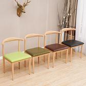 簡約餐椅仿實木鐵藝牛角椅子甜品奶茶店桌椅咖啡店西餐廳桌椅組合   夢曼森居家