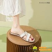 一字拖女外穿時尚涼拖鞋平底夏季涼拖【happybee】