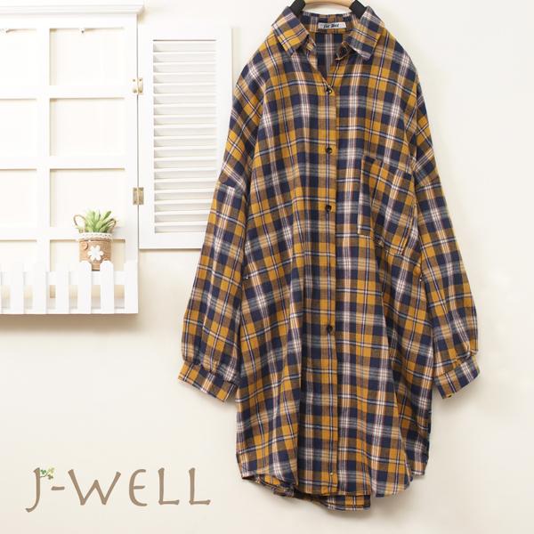 J-WELL 法蘭絨格紋長版上衣(3色) 9J1018