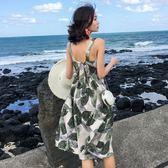 沙灘裙海邊度假 免運新款小個子短裙高腰碎花雪紡連衣裙吊帶裙女夏