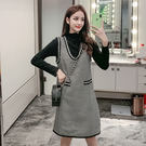 VK精品服飾 韓國風立領衫V領千鳥格格紋裙套裝長袖裙裝
