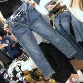 胖妹妹春裝大碼女裝胖褲子修身牛仔褲女九分