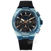 ARIES GOLD / G7016BU-BURG / 競速潮流 藍寶石水晶玻璃 三眼計時 矽膠手錶 黑x藍 45mm